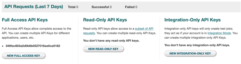 API Key Options